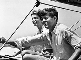 Photo of John F. and Jacqueline Kennedy on a boat. Links to Gifts from Retirement Plans