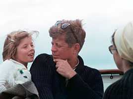 Photo of John F. Kennedy with his daughter. Link to Gifts by Will